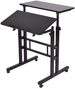 Mind Reader 2-Tier Adjustable Sit and Stand Mobile Workstation Desk