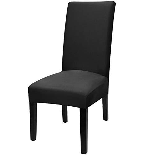 YISUN abnehmbare,waschbare,moderne,dehnbare Stuhlschutzhüllen aus Elasthan für Esszimmer 4 Stück/Paket Schwarzes / festes Muster