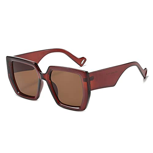 Gafas De Sol Hombre Mujeres Ciclismo Gafas De Sol Casuales De Moda para Mujer, Gafas De Sol Cuadradas Retro para Hombre-Tea_Tea