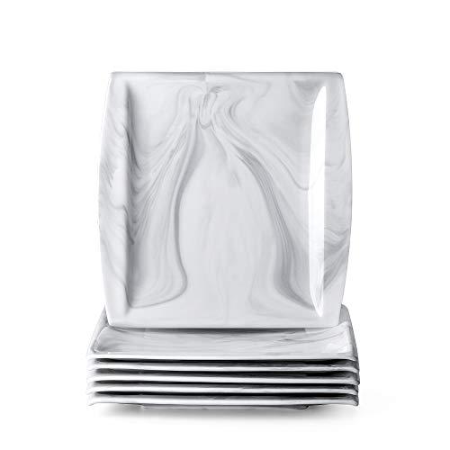 MALACASA, Serie Blance, 6 teilig Set Marmor Porzellan Tellerset 10,25