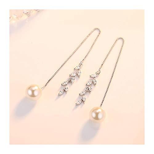 Xx101 Romantic Silver Zircon Sakura Flower Long Tassel Earring Line Luxury Pearl Drop Earrings Nixx0