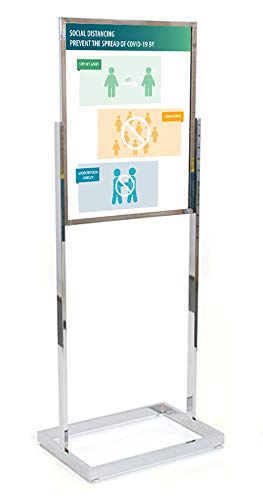 Coronavirus (Covid-19) CDC Workplace Signage -'Social Distancing' - Sign and Stand (Chrome)