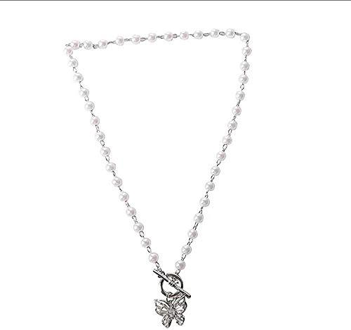 quanjiafu Halsketten Womans Butterfly Chain Halskette Schmuck Künstliche Birne Anhänger Lady Lover Silber Farbe Sweet Alloy Halskette