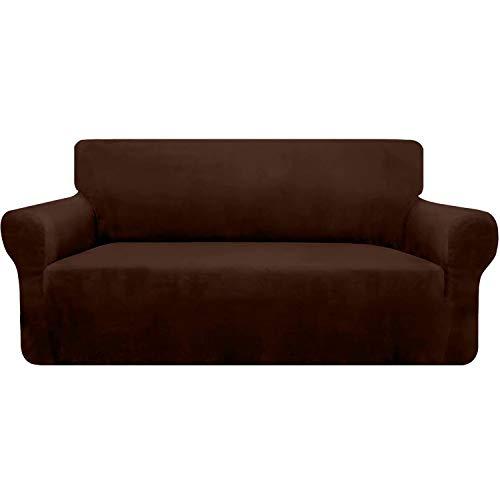 Granbest Funda de terciopelo supersuave para 3 cojines de sofá, 1 pieza elegante de felpa de lujo con varillas de espuma Spandex engrosadas, protección de muebles (3 plazas, chocolate)
