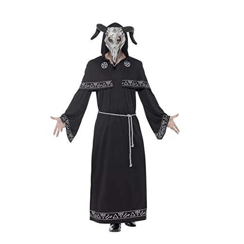SMIFFYS Costume Capo di setta, Nero, con tunica, cintura e maschera copricapo totale in