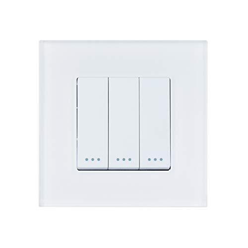 LEDKIA LIGHTING Interruptor Triple Conmutado con Marco PC Modern Blanco