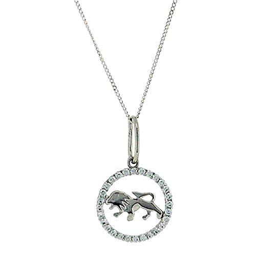 TOC Sterling Silver CZ Set Zodiac'Leo' Pendant Necklace 18'