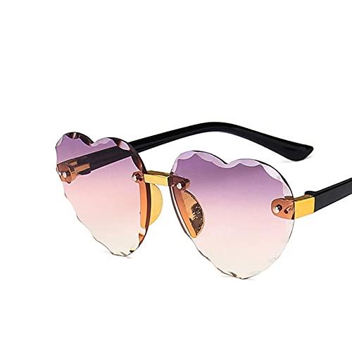 SLAKF Gafas duraderas Lindo corazón sin Montar Marco Gafas de Sol niños niños Gris Rosado Rojo Lente Moda Muchachos niñas uv400 protección Gafas (Lenses Color : C5 Purple)
