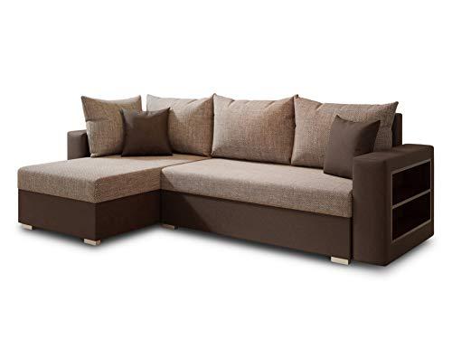 Ecksofa Lord mit Regal und Schlaffunktion - Sofa mit Bettkasten, Schlafsofa, Polsterecke, Couch L-Form, Couchgarnitur, Sofagarnitur (Braun + Beige (Dolaro 33 + Berlin 03), Ecksofa Links)