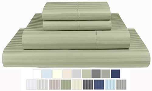 Threadmill Home Linen 600 Thread Count 100% Cotton Sheets, 1CM Damask Stripe, ELS Cotton Bed Sheets, Sateen Fits Mattress Up to 18'' Deep Pocket Queen, Damask Sage