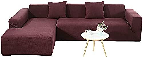 KIKIGO 2 Pcs Ecksofa Abdeckung,Sofabezug L Form, Sofahusse Ecksofa,Sofa Bezug 2er Set FüR L Form Sofa,Red Brown_l_Style-3+3_Seater