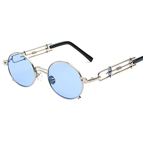 Astemdhj Gafas de Sol Sunglasses Gafas De Sol Steampunk Vintage para Mujer, Gafas De Sol Redondas De Metal Retro para Hombre, Lentes Transparentes Rojas Y Negras para Mujer, GafasAnti-UV
