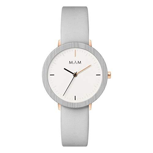 Mam relojes ferra Damen Uhr analog Japanisches Quarzwerk mit Leder Armband 640