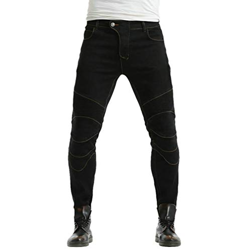 Zhiyuanan Uomo Donna Jeans Moto Impermeabile Biker Anti-Caduta Denim Pantaloni da Moto Protettivo Elastico Pantaloni Protettivi con 2 Protezioni Ginocchia e 2 Protettori Anca Nero 35W / 42L