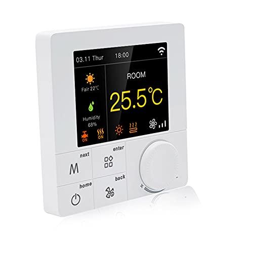 Qiumi RGB Colorido LCD Pantalla Smart WiFi Termostato para calefacción individual de caldera de gas/agua funciona con Alexa Google Home Dry Contact, 3A 100~240V AC