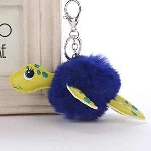 JMCT-DQ JMCT-DQ - Llavero de piel con pompón de tortuga y bola, color azul