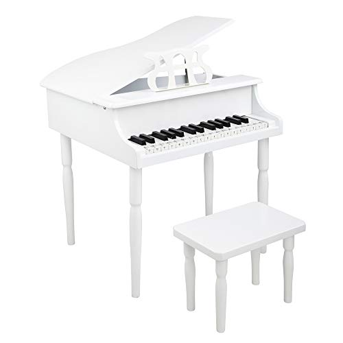 JOYMOR 30 Key Classical Kids Piano for Toddles with Charming Tones & Sounds, Wood Toy Grand Piano with Full-Size Keys, Musical Instrument with Bench, Music Stand and Song Book (White)