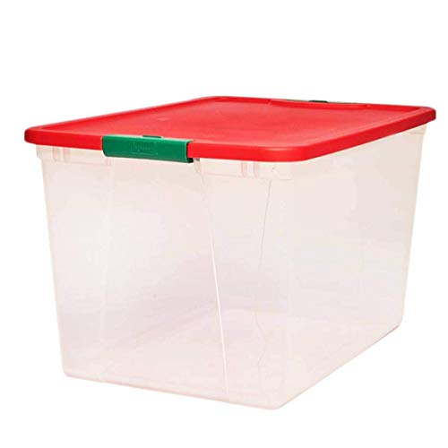 "HOMZ Holiday Plastic Container Clear Storage Bin with Lid, 64 Quart-23.5"" x 16.125"" x 13.5"", 2 Count"