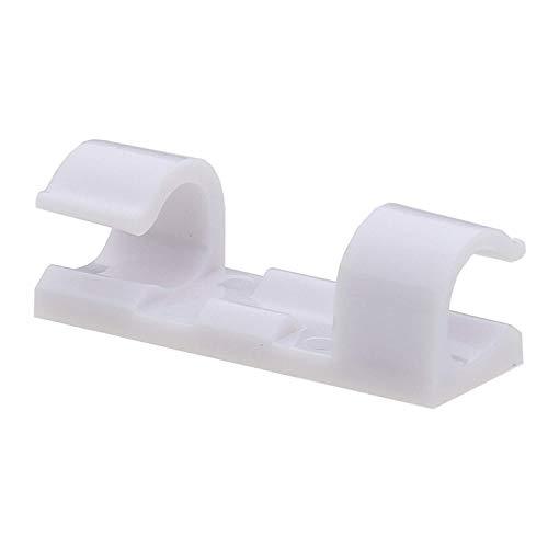 Titan Grip Selbstklebend Kabelschellen/Kabel-Clips, Weiß, 20 Stück Kabelhalter für Haus, Büro, Auto, PC. Anbringen an Wand oder Schreibtisch für Kabelmanagement