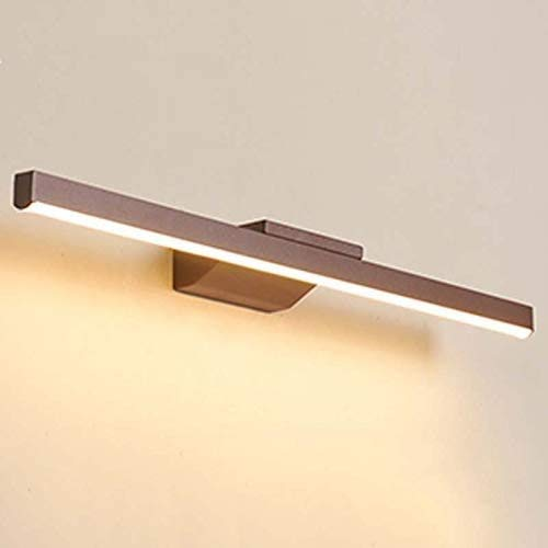 Yongjing Aplique de Metal LED de la Tira de la luz del Espejo de Maquillaje, marrón marrón Claro de la luz del baño de la luz Delantera 12W / 60 cm, para el Lavabo del baño Durable y Ahorra energía