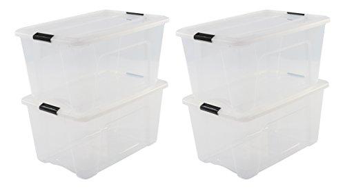 Iris Ohyama, 4er-Set stapelbare Aufbewahrungsboxen mit Klickverschluss - New Top Box NTB-45 - plastik, transparent, 4 x 45 L, L58 x B39,5 x H30,5 cm