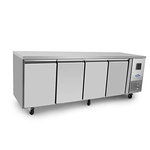 Table Réfrigérée Négative Inox - Sans Dosseret - Atosa - 4 Portes 600 Pleine