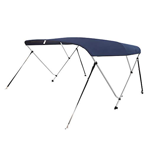 "VINGLI 3 Bow Bimini Tops Boat Cover 4 Straps for Front and Rear Includes Hardwares with 1 Inch Aluminum Frame 6'L x 46"" H x 73""-78"" W Navy Blue"