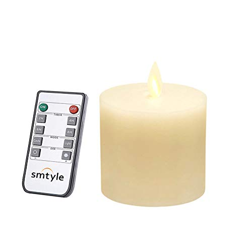 smtyle 3 x 3 inch Moving Flame Battery Operated Candles with LED Flameless Flickering Wick and Timer for Pillar Candle Holders or Desk Decor Flat Top1