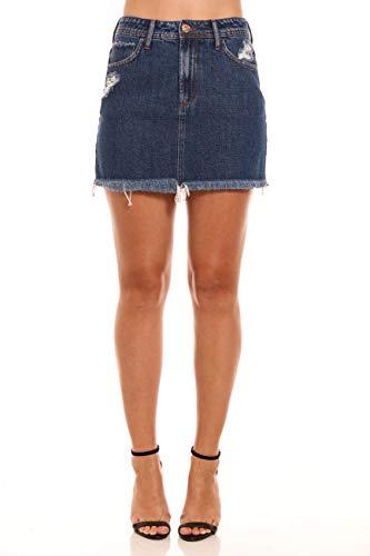 Saia curta jeans, Coca-Cola Jeans, Feminino, Azul, 38