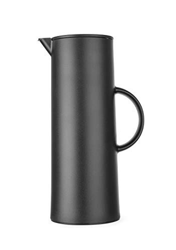HENDI Thermoskanne, Isolierkanne, Doppelwandig mit Innenbehälter aus Glas, für Kaffee oder tee, 1L, 110x(H)289mm, Polypropylen, Schwarz