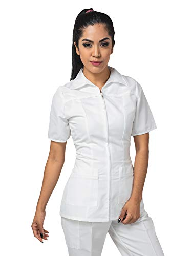 Ditmo Uniformes Filipina Modelo 80 de Dama Manga Corta con Cierre, Blanco, XCH