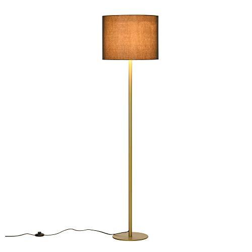 homcom Lampada da Terra a Piantana con Paralume in Stoffa, Design Moderno per Soggiorno, Camera da Letto e Ufficio, Nero e Oro