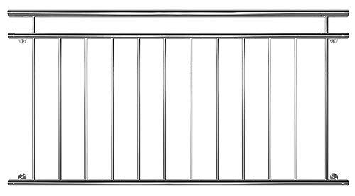 V2Aox Edelstahl Französischer Balkon Geländer Balkongeländer 90 x 100-225 cm, Breite:156 cm