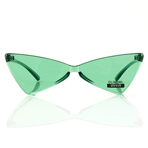 OLINOWL Triangle Rimless Sunglasses One Piece Colored Transparent Sunglasses For Women and Men, Green