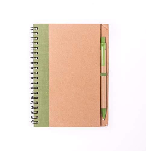 Projects - Taccuino 'Friend', formato DIN A5, carta riciclata da 80 g/m2, 120 pagine, copertina rigida in stile ecologico, con penna a sfera e raccoglitore ad anelli, versatile verde
