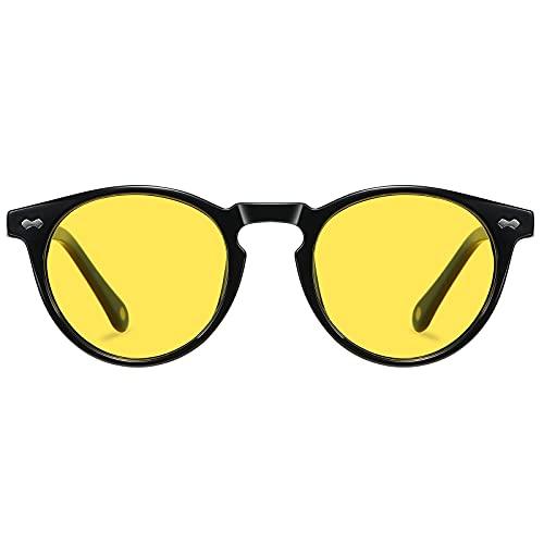 H HELMUT JUST Gafas De Sol Mujer Hombre Retro Redondas Polarizadas Conducir Tr90 Y Acetato HJ1011 (Nergo/Conduir de Noche)