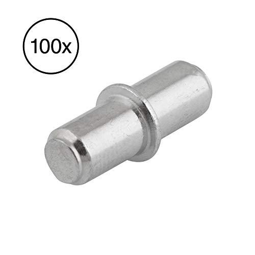 LouMaxx Bodenträger 5 mm 100 Stück mit Ring für Bohrung – Einlegeboden Halter - Fachbodenträger - Bretthalter - Regalbretthalter - Regalbodenträger - Bodenträger 5mm aus massivem Stahl, vernickelt