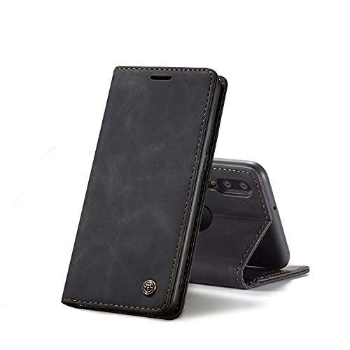 Chocoyi Compatible Funda Samsung Galaxy A10 Flip Leather Edition,magnético, función de Soporte y Ranuras para Tarjetas-Negro