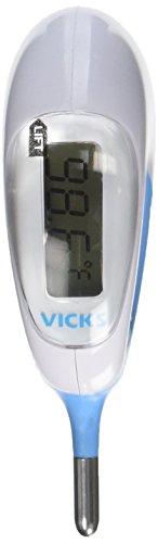 Vicks Termómetro de bebé rectangular para temperatura rectal, punta corta y flexible con tiempos de lectura rápida y pantalla digital grande