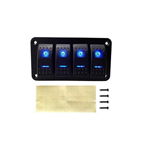 ZHANGJIN Interruptor 12V Rocker Panel de Ajuste for el Barco Marina Camiones Caravana de Coches zócalo del Interruptor del Panel del Interruptor de Circuito Toggle (Color : 4 Gang Switch Panel)