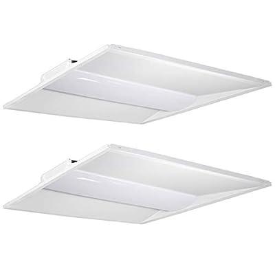Hykolity Architectural LED Troffer,0-10V Dimmable LED Volumetric Troffer, Drop Ceiling Panel Light Eligible for Rebate Program-2 Pack