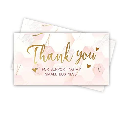 120 rosa Marmor und Goldfolie, Dankeschön für die Unterstützung meiner kleinen Visitenkarten, Dankeskarten für Einzelhandel, Online-Shop, handgefertigte Waren (8,9 x 5,1 cm)