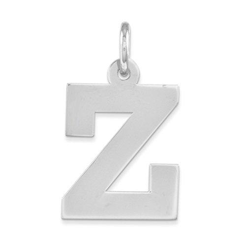 QGC Sterling Silver Medium Block Initial Z Charm