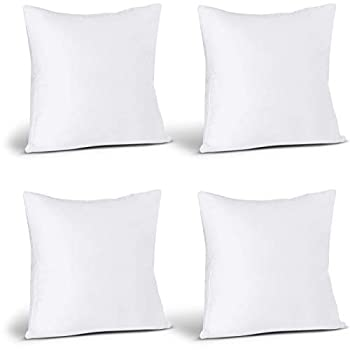 Utopia Bedding Throw Pillows Insert  Pack of 4 White  - 18 x 18 Inches Bed and Couch Pillows - Indoor Decorative Pillows
