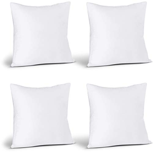 Utopia Bedding Throw Pillows Insert (Pack of 4, White) - 20 x 20 Inches Bed and Couch Pillows - Indoor Decorative Pillows