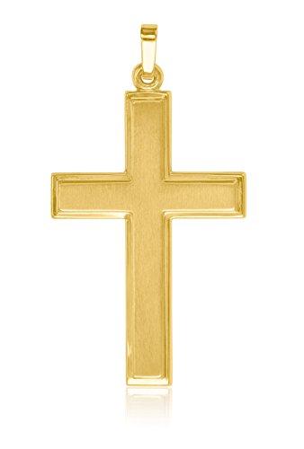 My Gold Kreuz Anhänger (Ohne Kette) Gelbgold 375 Gold (9 Karat) 40mm x 22mm Herrenschmuck Männerschmuck Goldkreuz Bologna A-06085-G603