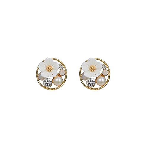 S925 Círculo de aguja de plata Pequeño estilo fragante Pendientes de personalidad Pendientes de diamantes de imitación Flores de perlas Pendientes de moda literaria Pendientes
