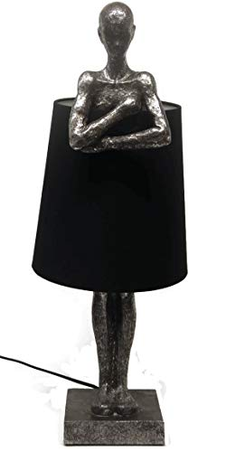 Bada Bing Hochwertige Große Tischlampe Mann Im Schirm Bronze Silber Lampe Dekolampe Tischleuchte Extravagant Edel Skulptur Figur 55