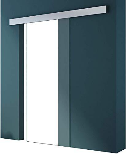 Mai & Mai Porta Scorrevole in Vetro 102.5x215cm, Porta Scorrevole in Vetro Vetro Trasparente 8mm con Binario e Maniglia Rotonda per Bagno Cucina Studio Ufficio, Amalfi TS19H-1025 KMG