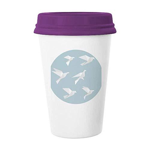 Origami - Taza de café con forma geométrica con forma de paloma abstracta de cerámica